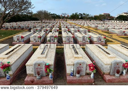 Hoi An, Vietnam, February 29, 2020: Some Of The Graves Of Soldiers Of The Vietnam People's Army And