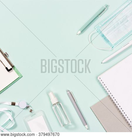 School Supplies, Face Mask And Hand Sanitizer, Schoolboy Badge, Copybooks, Pens On Neo Mint Paper Ba