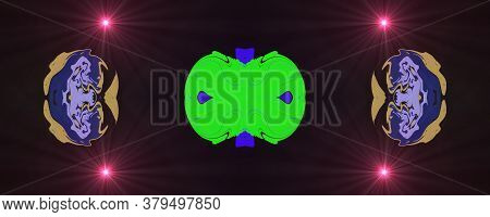 Abstract Classic Blue And Green Purple Pattern. Background Image. Abstract Decorative Texture. Moder