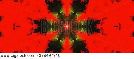 Flower Kaleidoscope Pattern Abstract Background. Red Light Abstract Fractal Kaleidoscope Background.