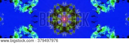 Flower Kaleidoscope Pattern Abstract Background. Blue Supernova Abstract Fractal Kaleidoscope Backgr