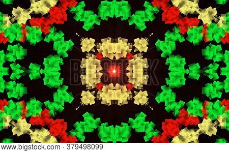 Green And Red Mixed Creative Pattern With Symmetric Geometric Ornament. Mosaic Texture. Kaleidoscope