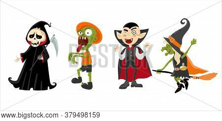 Hilarious Characters Of Halloween. The Image Of A Witch, Zombie, Vampire, Death With A Scythe. Carto