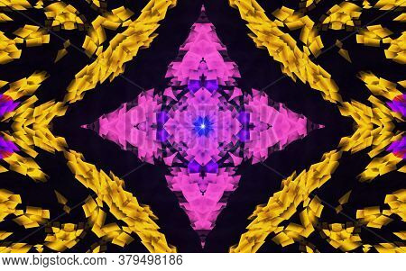 Yellow And Pink Creative Pattern With Symmetric Geometric Ornament. Ornamental Mosaic Texture. Kalei