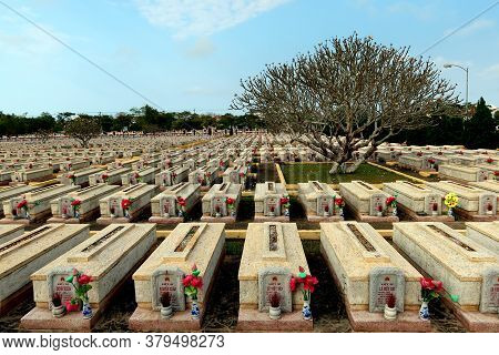 Hoi An, Vietnam, February 29, 2020: Tombs Of The Soldiers Of The Vietnam People's Army And Mainly Of