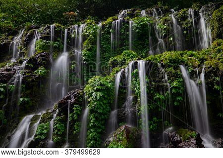 Close Up Of Waterfall. Dynamic Water Flow. Waterscape Background. Water Energy. Nature And Environme