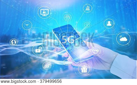 5g Network And 5g Technology With Wireless Internet Wifi Connection. 5g Global Network Concept.