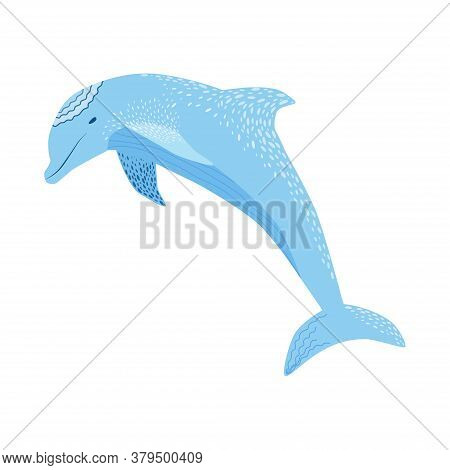 Cute Colorful Childish Cartoon Dolfin Isolated On A White Background. Underwater Creature Illustrati