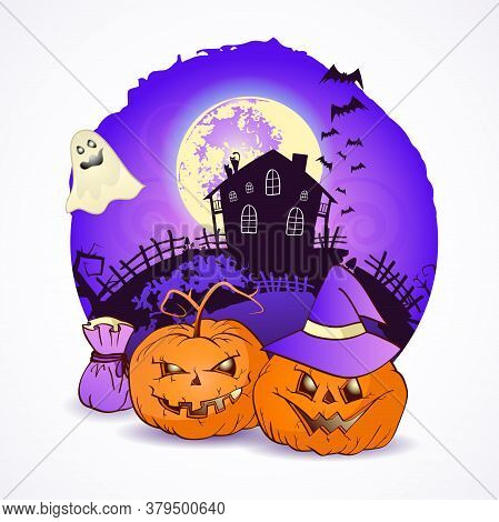 Halloween Vector Illustration With Pumpkins Heads, Witch Hat And Bag On The Night Sky Background Of