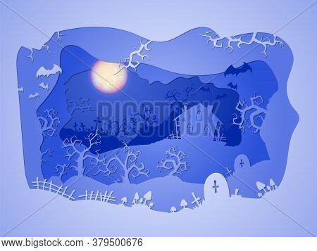 Vector Halloween Illustration With  House And Graves  On The Night Sky Background  With  Full Moon A