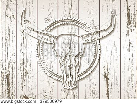 Vector Illustration With A Wild Buffalo Skull On A Wooden Background. White Silhouette With Round Fr