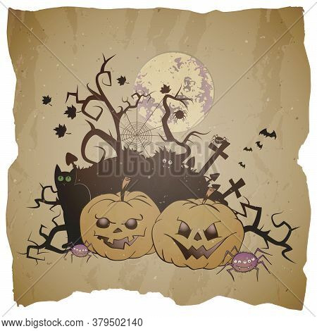 Vector Halloween Illustration With Grinning Pumpkins, Spiders And Black Cat On Grunge Background.