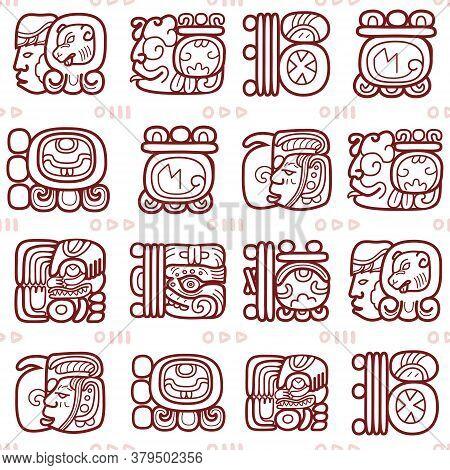 Maya Glyphs, Mayan Writing System Vector Seamless Pattern - Tribal Art
