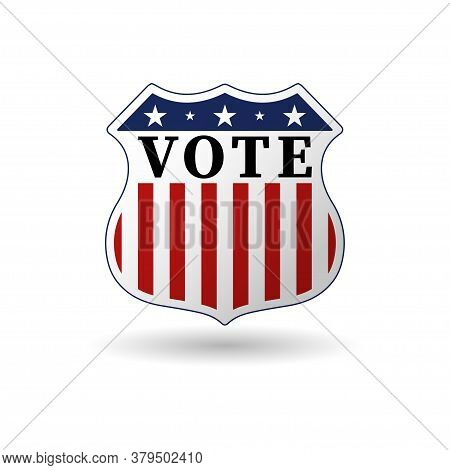 2020 Campaign Election Pin Button Or Badge With Patriotic Stars And Stripes Theme. Us Presidential E