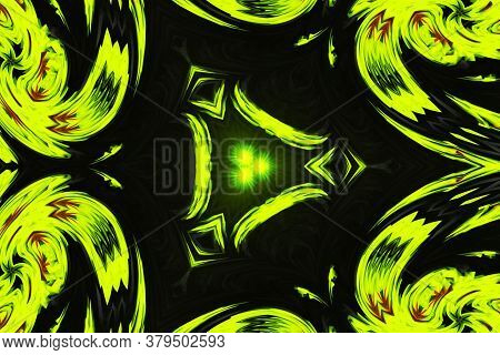 Creative Yellow Star Triangle Pattern With Symmetric Ornament. Ornamental Mosaic Texture. Kaleidosco