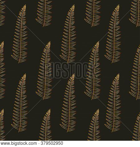 Tropical Vector Fern Leaves Seamless Pattern Black Background. Exotic Wallpaper. Modern Trendy Print