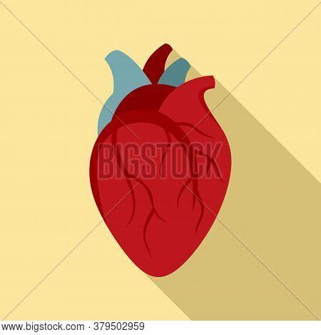 Biology Human Heart Icon. Flat Illustration Of Biology Human Heart Vector Icon For Web Design