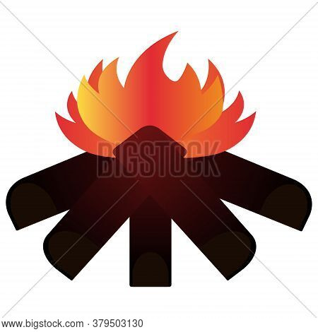 Bonfire. Hot flame of fire. Vector illustration. Isolated white background. Flat style. Hiking conditions. Ignition of wooden firewood. Look at the fire and calm down. Back to nature. Idyllic image. Campfire cooking. Travel mood.