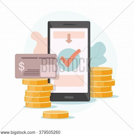Mobile Payment. Online Receipt Of Money From A Bank Card To A Mobile Wallet.  Gold Coin Transfer App