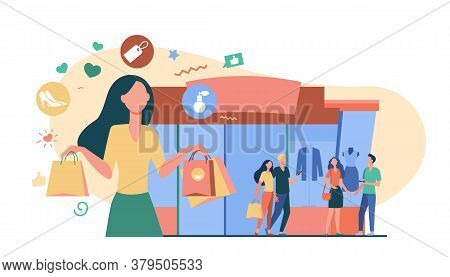 People Standing At Fashion Store Windows. Trendy Woman Carrying Shopping Bags From Boutique. Vector