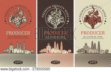 Wine Label With A Rural Landscape Of A European Village, Hand-drawn Bunches Of Grapes And Inscriptio