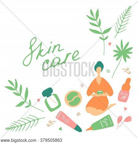 Skin Care And Beauty Concept. Template For Salon And Spa. Cute Hand Drawn Beauty Icons. Vector Flat