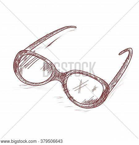 Glasses. Vector. Hand Drawing. School Supplies. Accessories For The Visually Impaired And People Wit