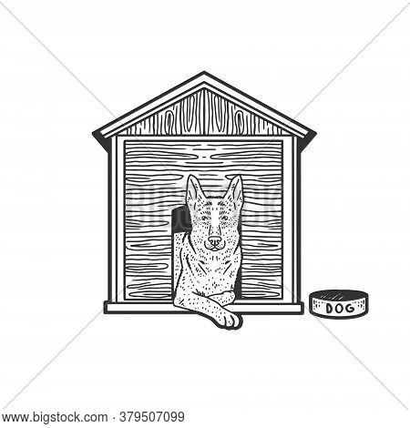 Dog In Booth Sketch Engraving Vector Illustration. T-shirt Apparel Print Design. Scratch Board Imita