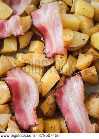 Fried Potato With Bacon With Salt Pepper, Unhealthy Food