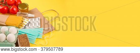 Banner With Food And Medicaments Donations With Paper Bag On Yellow Background With Copyspace - Past
