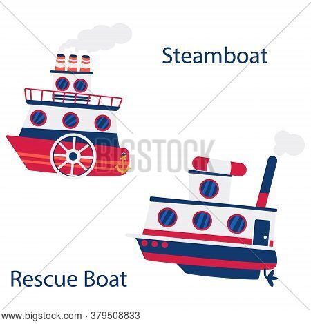 River Paddle Wheel Boat With Steaming Pipes. Tugboat With Rescue Ring On Top. Isolated Marine Object