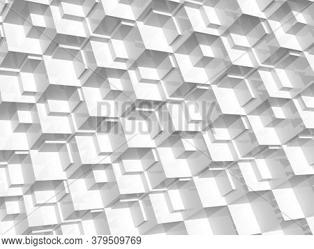 Abstract White Digital Pattern, Background Texture With Cubical Mosaic Relief. 3d Rendering Illustra