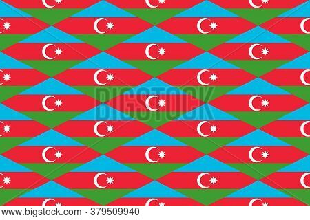 Simple Geometric Pattern In The Colors Of The National Flag Of Azerbaijan