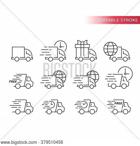 Delivery Truck Or Lorry Line Vector Icon Set. Fast Delivery, Speed Marks, Clock And International Sh