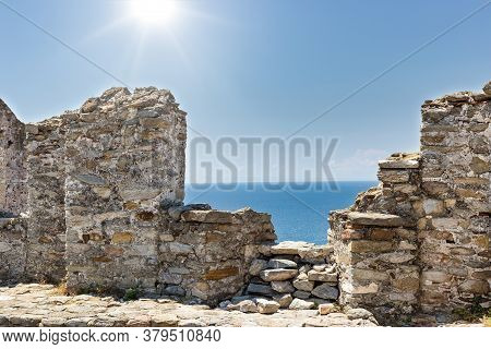 View From The Fortress Walls To The Beautiful Aegean Sea, Kavala Town In Northern Greece.