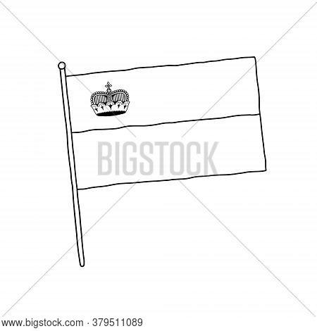 Liechtenstein Flag Vector, Outline Illustration. Vector Black And White Liechtenstein Flag.