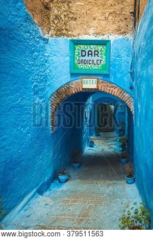 Chefchaouen, Morocco - October 26, 2018: View Of The Hotel Dar Dadicilef Entrance With Blue Walls In