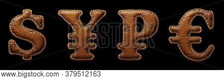 Set of symbols dollar, yen, rouble and euro made of leather. 3D render font with skin texture isolated on black background. 3d rendering