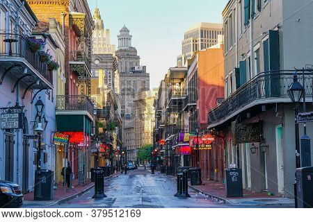 New Orleans - 04/15/2018 : The Famous Bourbon Street Cleaned Up After Nightlife