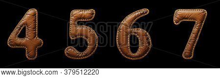 Set of numbers 4, 5, 6, 7 made of leather. 3D render font with skin texture isolated on black background. 3d rendering