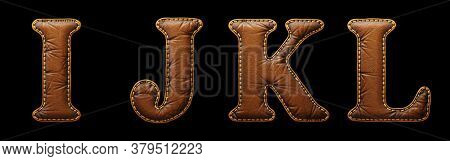Set of leather letters I, J, K, L uppercase. 3D render font with skin texture isolated on black background. 3d rendering