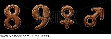 Set of numbers 8, 9 and symbols female, male made of leather. 3D render font with skin texture isolated on black background. 3d rendering