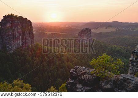 Beautiful Panoramic View At Sandstone Rocks During Foggy Sunrise, Saxon Switzerland Germany