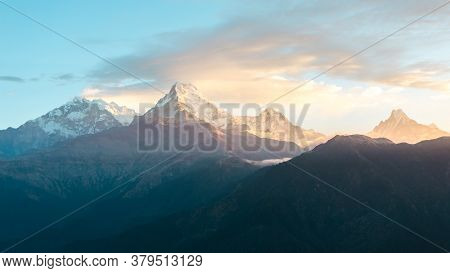 Himalaya Mountains Range On Sunrise. Mighty Misty Snowy Himalayas, Mountain Background.