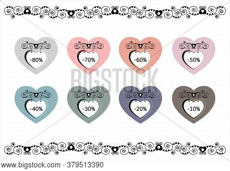 Set Of Price Tags. Sale Labels. Heart Shaped Panel. Colorful Label And Original. Vector Illustration