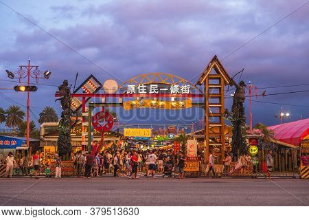August 2, 2020: Aboriginal Street Of Dongdamen Night Market, Opened In July 2015 And Located In Hual