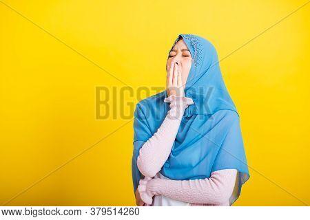 Asian Muslim Arab, Portrait Of Happy Beautiful Young Woman Islam Religious Wear Veil Hijab Funny She