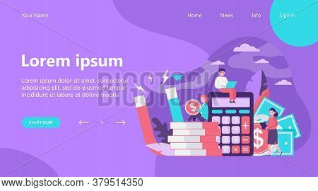 Money And Income Attraction. Business People Working Among Calculator, Cash And Magnet. Flat Vector