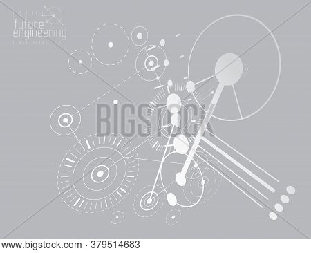 Vector Industrial And Engineering Background, Future Technical Plan. Abstract Blueprint Of Mechanism
