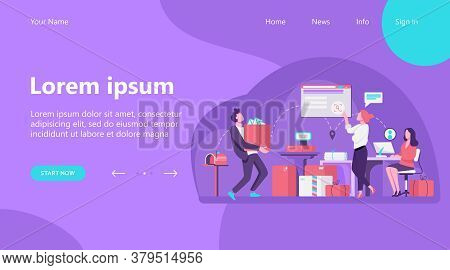 People Working At Post Office Flat Vector Illustration. Shipping And Delivery Service Concept. Mail